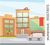 hospital building cartoon... | Shutterstock .eps vector #553273072
