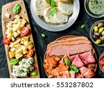flat lay of italian cold meat... | Shutterstock . vector #553287802