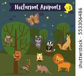 Nocturnal Animals Cartoon With...