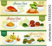 italian cuisine lunch with... | Shutterstock .eps vector #553310242