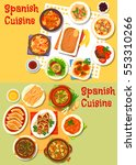 spanish cuisine icon of seafood ... | Shutterstock .eps vector #553310266