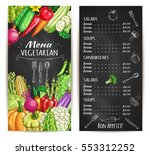 vegetarian food restaurant menu.... | Shutterstock .eps vector #553312252