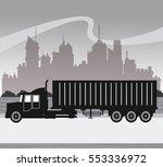 silhouette truck transport... | Shutterstock .eps vector #553336972