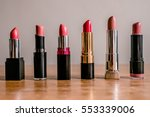 colorful lipsticks on the... | Shutterstock . vector #553339006