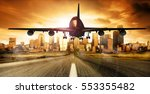 airplane landing landscape at... | Shutterstock . vector #553355482