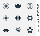 set of 9 simple flower icons.... | Shutterstock .eps vector #553356085