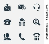set of 9 simple contact icons.... | Shutterstock .eps vector #553358296