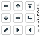 set of 9 simple arrows icons.... | Shutterstock .eps vector #553361116