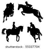 Stock vector four horse and rider silhouettes 55337704