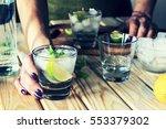 a young girl is preparing an... | Shutterstock . vector #553379302