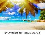 tropical island. the seychelles.... | Shutterstock . vector #553380715