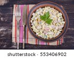 russian traditional salad... | Shutterstock . vector #553406902