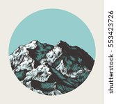 mountains. hand drawn vector... | Shutterstock .eps vector #553423726