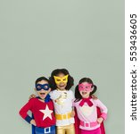 Superhero Kid Smiling Friendship Togetherness - Fine Art prints