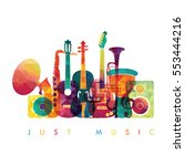 colorful music background.... | Shutterstock .eps vector #553444216