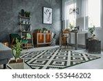 grey room with window  carpet ... | Shutterstock . vector #553446202