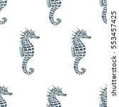 Stock vector vector seamless pattern with seahorse retro illustration 553457425