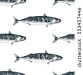 vector hand drawn fish seamless ... | Shutterstock .eps vector #553457446