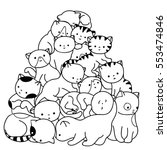 Stock vector doodle cats pile black and white cute background great for coloring book wrapping printing 553474846