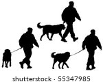 Stock vector vector image of police man with a dog on a leash 55347985