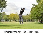 golfers hit sweeping golf... | Shutterstock . vector #553484206