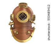 old diving helmet. 3d rendering | Shutterstock . vector #553485412