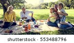 family picnic outdoors... | Shutterstock . vector #553488796