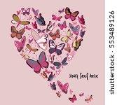 retro color flying butterflies... | Shutterstock .eps vector #553489126