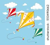 three colorful kites in the...   Shutterstock .eps vector #553490662