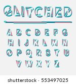colorful glitched font and... | Shutterstock .eps vector #553497025