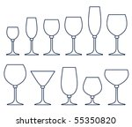 set of glasses for alcoholic... | Shutterstock .eps vector #55350820