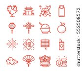 chinese new year line icon set. ... | Shutterstock .eps vector #553508572
