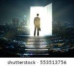 businessman standing on... | Shutterstock . vector #553513756