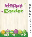 happy easter poster or greeting ... | Shutterstock .eps vector #553532152