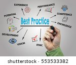 best practice. hand with marker ... | Shutterstock . vector #553533382
