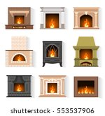 set of web icons fireplaces in... | Shutterstock .eps vector #553537906