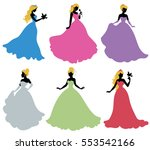 set of silhouettes of princess. ... | Shutterstock .eps vector #553542166