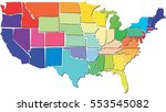colorful usa map with states | Shutterstock . vector #553545082