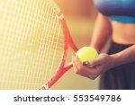player's hand with tennis ball... | Shutterstock . vector #553549786
