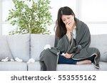 sick woman woman caught cold... | Shutterstock . vector #553555162