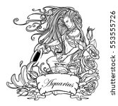 zodiac sign aquarius. young man ... | Shutterstock .eps vector #553555726