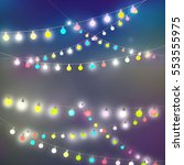 fairy lights on the wall card ... | Shutterstock . vector #553555975