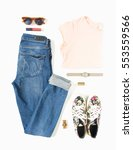 stylish female clothes set.... | Shutterstock . vector #553559566