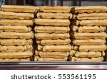 tray full of fresh waffles ... | Shutterstock . vector #553561195