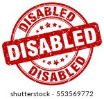 disabled. stamp. red round...   Shutterstock .eps vector #553569772