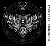 moth dead head. mystical circle.... | Shutterstock .eps vector #553576825