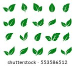 Green Leaf Icons Set On White...