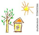 wax crayon like kid s hand... | Shutterstock .eps vector #553603366