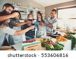 mixed group of young adult... | Shutterstock . vector #553606816