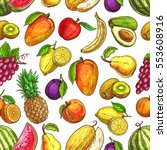 fruit seamless pattern... | Shutterstock .eps vector #553608916